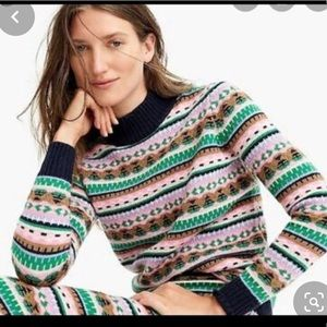 New j crew fair isle lambs wool blend sweater larg